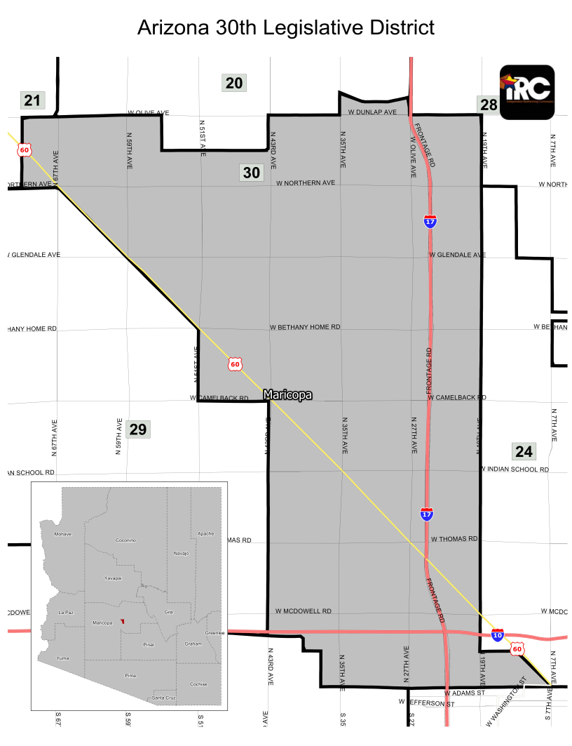 Arizona 30th Legislative District, Dunlap to Roosevelt, 71st Ave to 19th Ave
