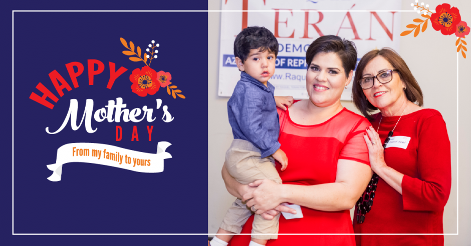 """Raquel, her mother, and her son on greeting card style graphic with words reading """"Happy Mother's Day"""""""